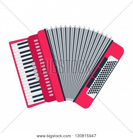 Musical instrument classical accordion isolated on white background. Accordion vector illustration. Accordion isolated vector