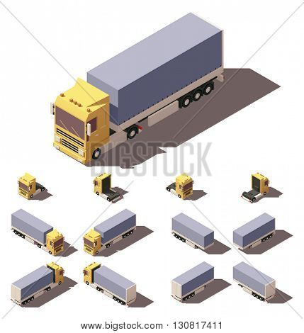 Vector Isometric icon or infographic element representing truck or tractor with tilt box trailer or semi-trailer. Every truck and trailer in four views with different shadows