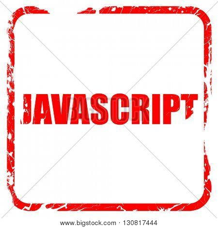 javascript, red rubber stamp with grunge edges