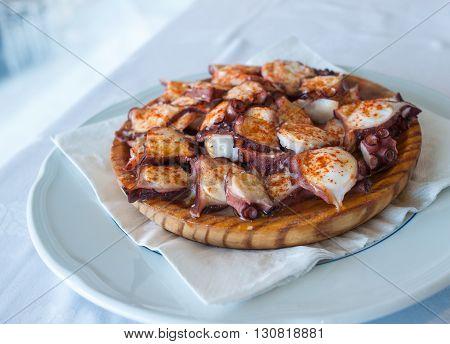 Galician style octopus pulpo a la gallega