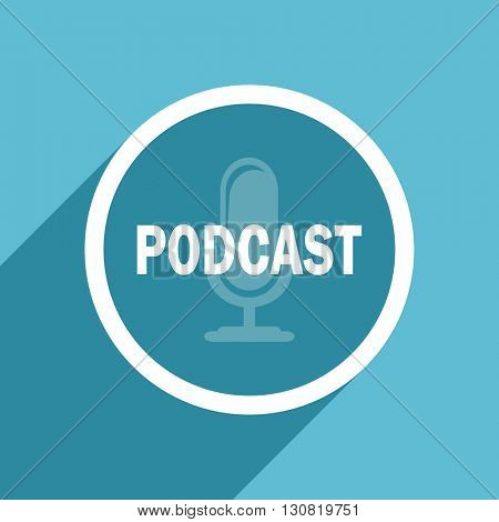 podcast icon, flat design blue icon, web and mobile app design illustration