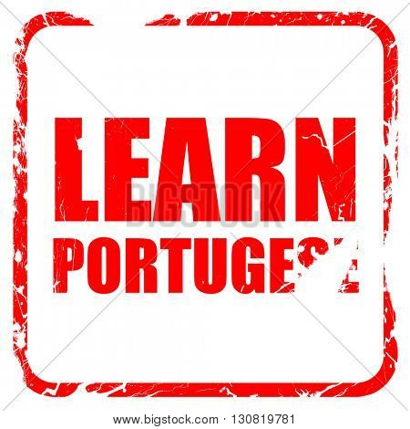 learn portugese, red rubber stamp with grunge edges