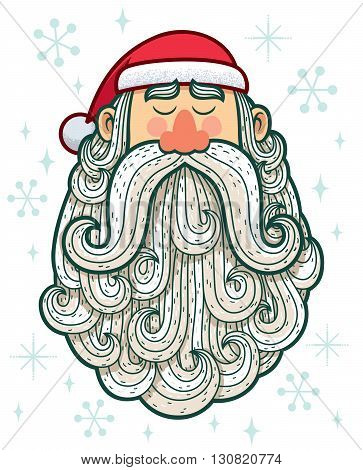Cartoon portrait of Santa Claus on white background.