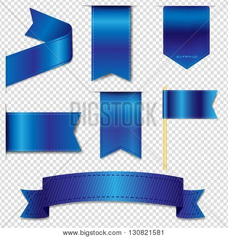 Blue Web Ribbons Collection, Isolated on Transparent Background, Vector Illustration