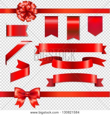 Red Bows With Ribbons Set, Isolated on Transparent Background, With Gradient Mesh, Vector Illustration