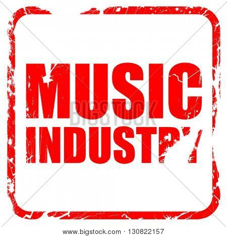music industry, red rubber stamp with grunge edges