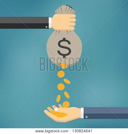 Gold Coins Falling From Money Bag to Man Hand.