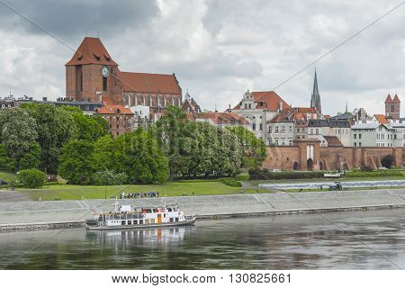Torun, Poland - May 18, 2016: Torun In Poland, Old Town Skyline, Fortified Medieval City, River View