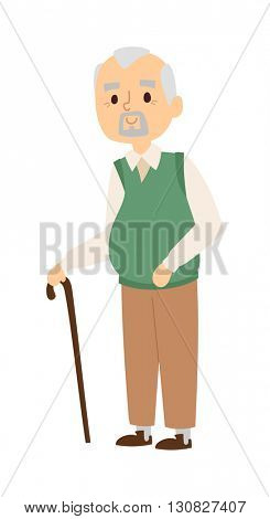 Granddad portrait vector illustration.