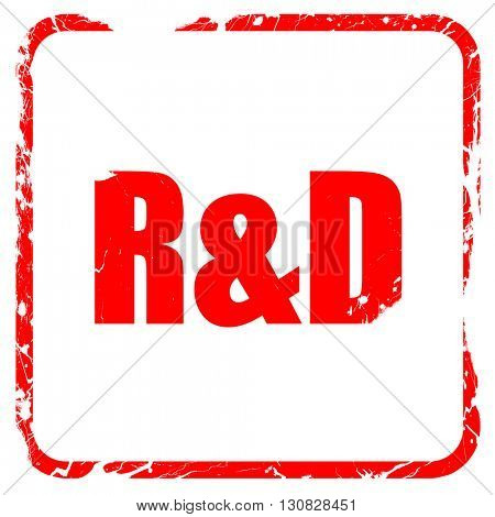 R & D red rubber stamp with grunge edges