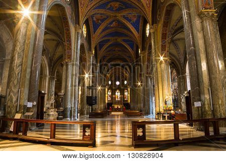 ROME ITALY - March 21 2016: Interior of Santa Maria Sopra Minerva. The Minerva is the only extant example of original Gothic church building in Rome.