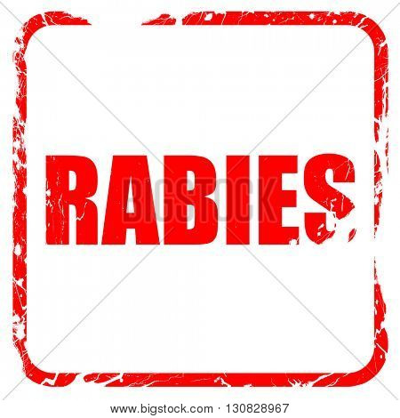 rabies, red rubber stamp with grunge edges