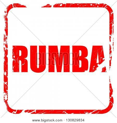 rumba dance, red rubber stamp with grunge edges