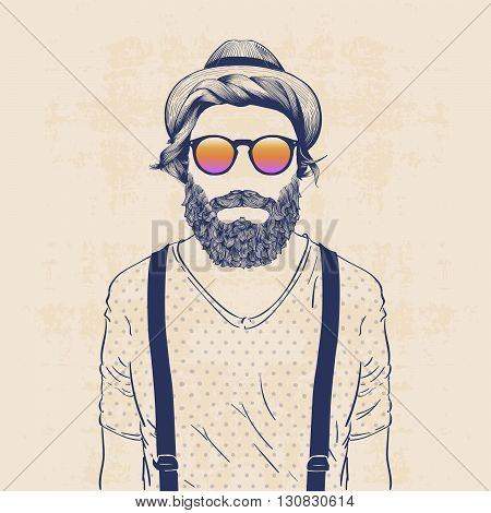 fashion character illustration cool hipster with hat sun glasses and galluses
