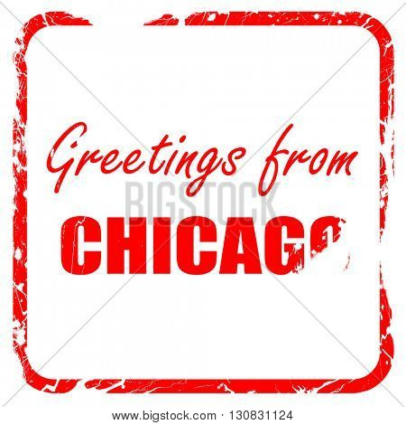 Greetings from chicago, red rubber stamp with grunge edges