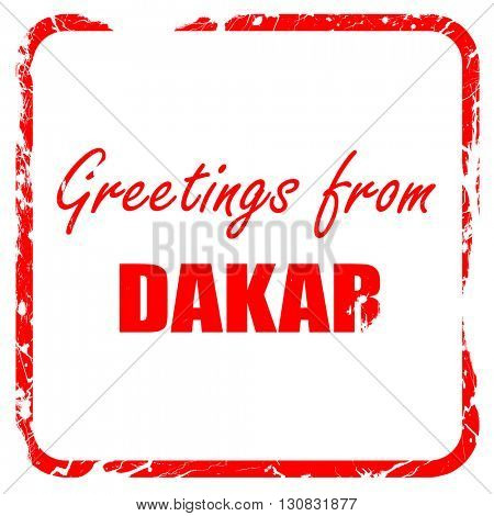 Greetings from dakar, red rubber stamp with grunge edges