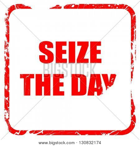 seize the day, red rubber stamp with grunge edges