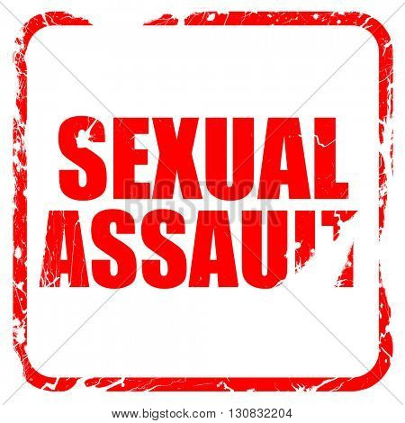sexual assault, red rubber stamp with grunge edges