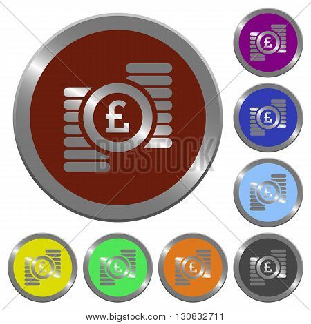 Set of color glossy coin-like pound coins buttons.