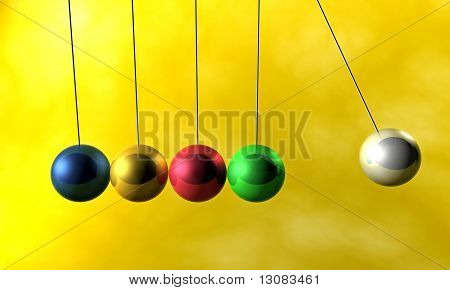 Colorful newton cradle pendulums