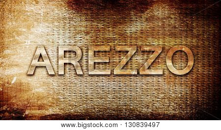Arezzo, 3D rendering, text on a metal background