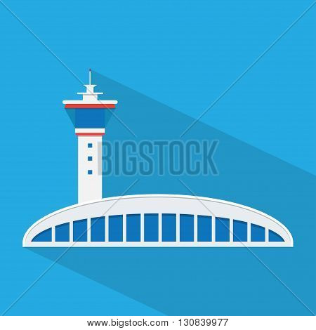 Airport. Control tower and terminal building blue shadow and flat theme