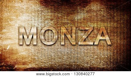 Monza, 3D rendering, text on a metal background