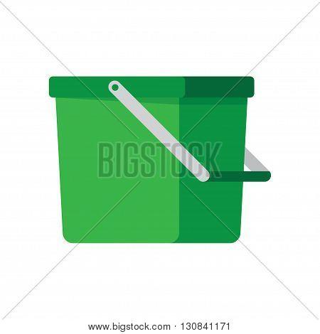 Empty bucket vector illustration icon. Flat paint bucket cartoon vector illustration. Art work paint bucket container.