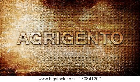 Agrigento, 3D rendering, text on a metal background