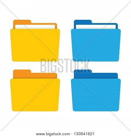 Folder icon. Folder vector illustration. File folder in flat style. Folder for documents. Folder isolated from background. Folder icon flat. Office folder.