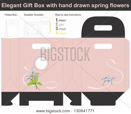 Vector template for present box in envelope with spring flowers