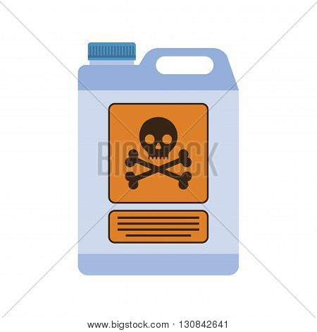 Industrial chemical container with the sign of life threatening. flat design illustration vector.
