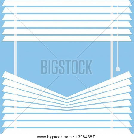 parted blinds on a blue background vector illustration