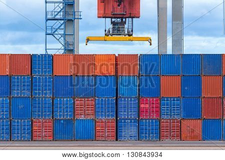 Lots of Cargo containers in shipyard stacked
