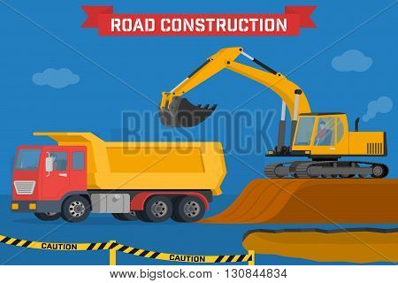 Excavator digging pit in the ground and load truck. Construction machines in the background silhouette of the city. Vector illustration of building machinery.