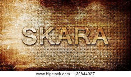Skara, 3D rendering, text on a metal background