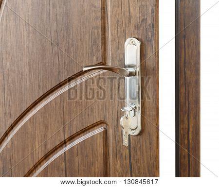Open door handle. Door lock with keys. Brown wooden door closeup isolated. Modern interior design, door handle. New house concept. Real estate.