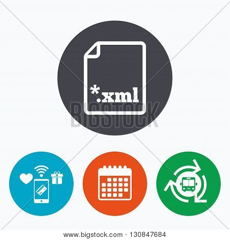 File document icon. Download XML button. XML file extension symbol. Mobile payments, calendar and wifi icons. Bus shuttle.