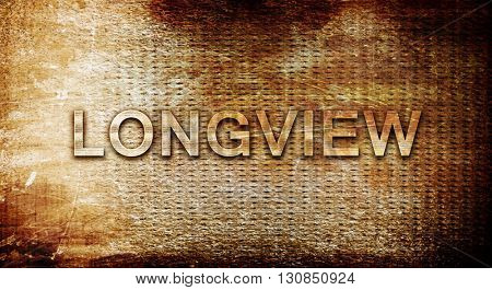 longview, 3D rendering, text on a metal background