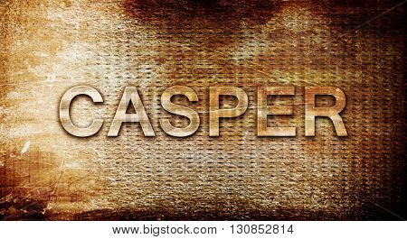 casper, 3D rendering, text on a metal background