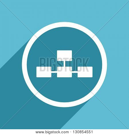database icon, flat design blue icon, web and mobile app design illustration