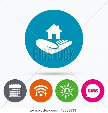 Wifi, Sms and calendar icons. House insurance sign. Hand holds home symbol. Insurance of property. Go to web globe.