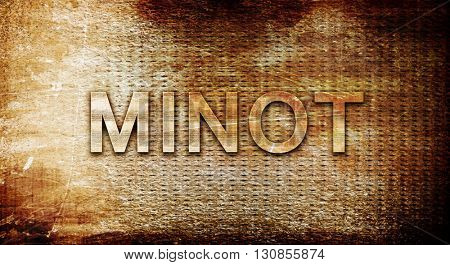 minot, 3D rendering, text on a metal background
