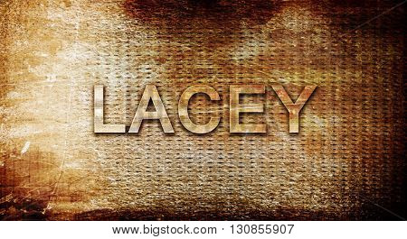lacey, 3D rendering, text on a metal background
