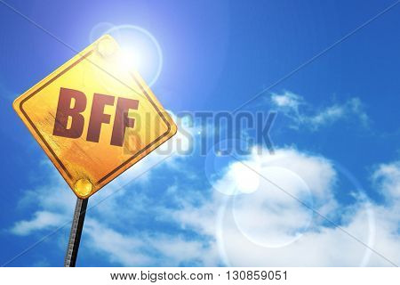 bff, 3D rendering, a yellow road sign