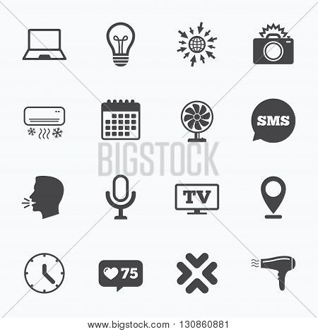 Calendar, go to web and like counter. Home appliances, device icons. Air conditioning sign. Photo camera, computer and ventilator symbols. Sms speech bubble, talk symbols.