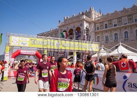 TRIESTE ITALY - MAY 08: Finishing line of Bavisela the half marathon in Trieste on May 08 2016
