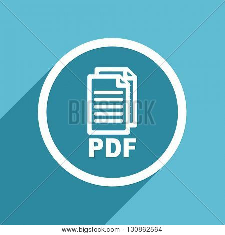 pdf icon, flat design blue icon, web and mobile app design illustration,