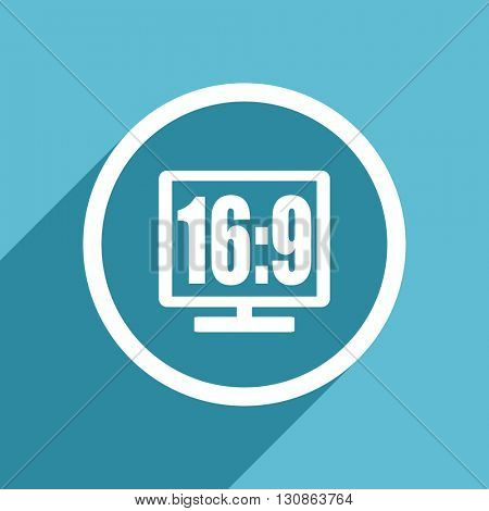 16 9 display icon, flat design blue icon, web and mobile app design illustration