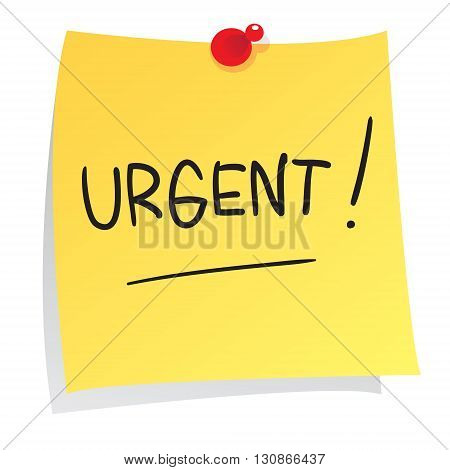 Vector illustration of Urgent message on sticky paper isolated on white